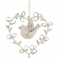Transomnia -Cream bird in heart decoration